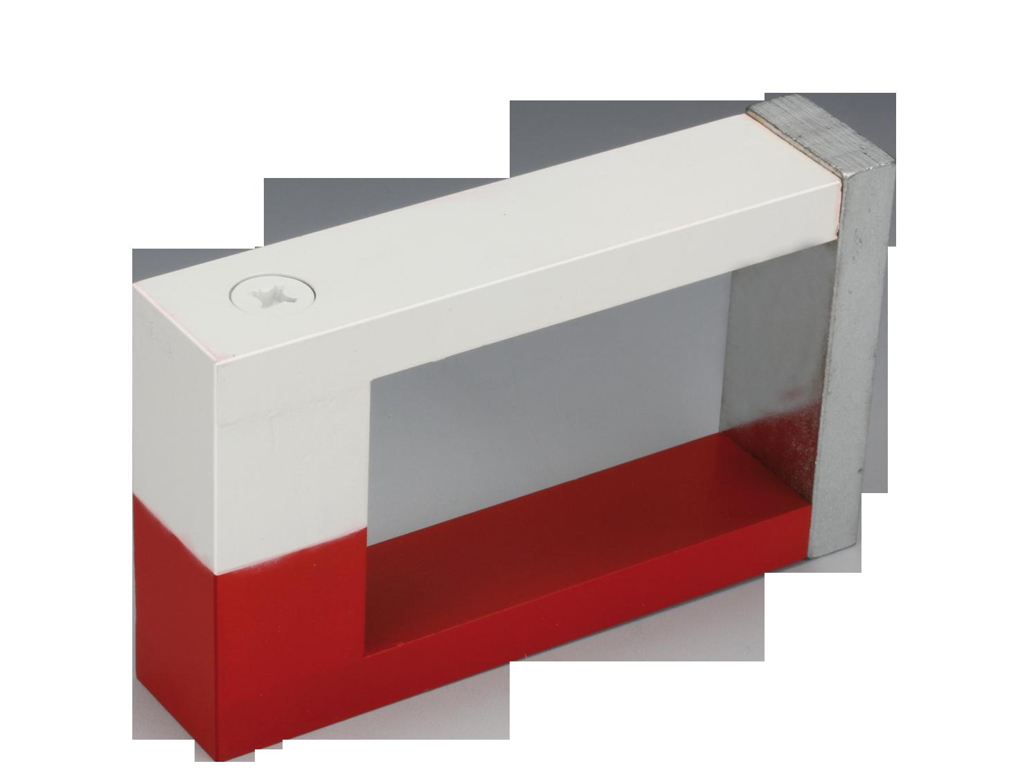 一块磁化的铝镍钴块马蹄形磁铁(又称u形磁铁),两个极性有不同的颜色
